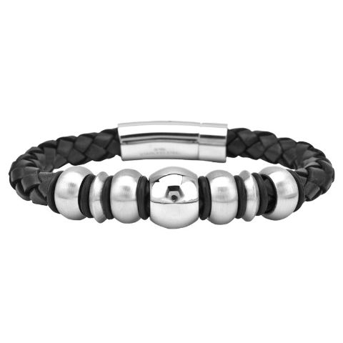 Inox Men'S Stainless Steel Black Braided Leather Beaded Bracelet #Br027