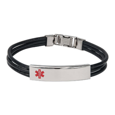Inox Men'S Stainless Steel Black Leather Band Medical Id Bracelet #Br11246Ma