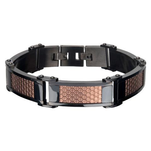 Inox Men'S Stainless Steel Cappuccino Matte Honeycomb Style Bracelet