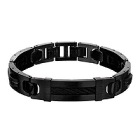 Inox Men'S Stainless Steel Matte Finish IP Black Bracelet