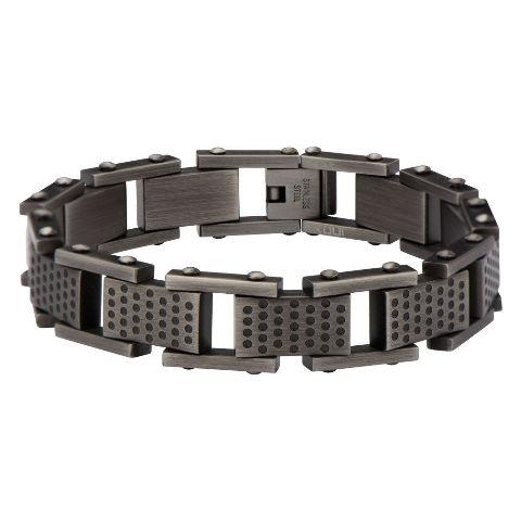 Inox Men'S Stainless Steel Gun Metal Finish Bracelet Edgy Contemporary #Br12650