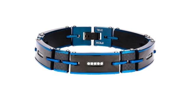 Inox Jewelry Men'S Stainless Steel Solid Carbon Blue Ip Cz Link Bracelet