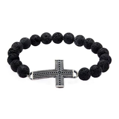 Inox Bracelet Men's Black Lava Beads and Steel Cross