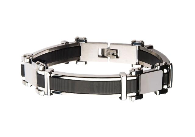Inox Men's Stainless Steel Black Plated with Steel Link Bracelet
