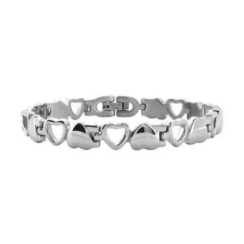 Women'S Inox Jewelry Stainless Steel Heart Link Romantic Bracelet