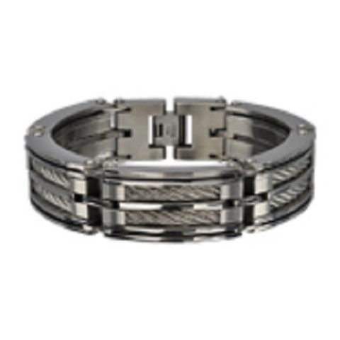 Inox Men'S Stainless Steel 2 Cable Chunky Polished Finish Bracelet