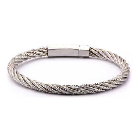 Inox Jewelry Men'S Stainless Steel Xlg Cable Bracelet Matte Finished Steel Clasp