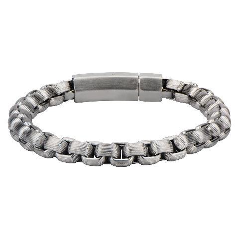 Inox Jewelry Men'S Stainless Steel With Grove Line Bold Box Chain Bracelet