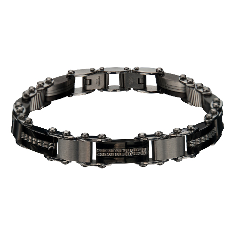 Inox Jewelry Men'S Stainless Steel Bar and Black IP Reversible Bracelet