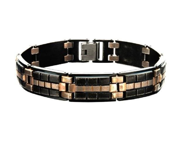 Inox Men's Antique Metal and Bronze Tone Tile Bracelet