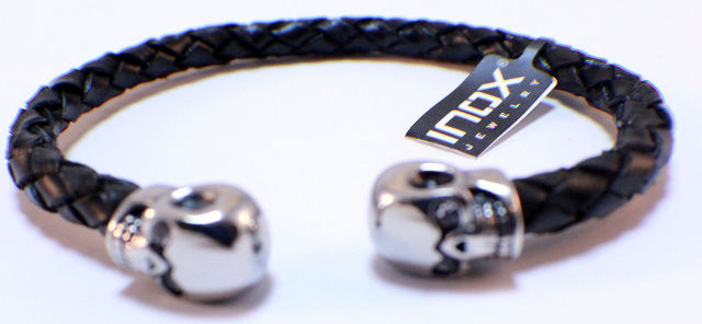 Inox Men'S leather Dark Brown Bracelet  and Stainless Steel Skulls on the Tips