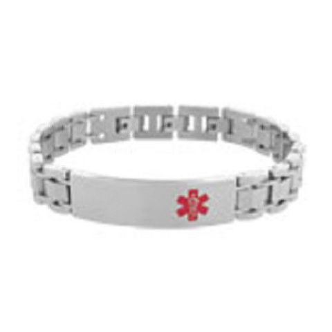 Inox Men'S Stainless Steel Medical Id Silver Tone Engraveable Bracelet #Brwbma