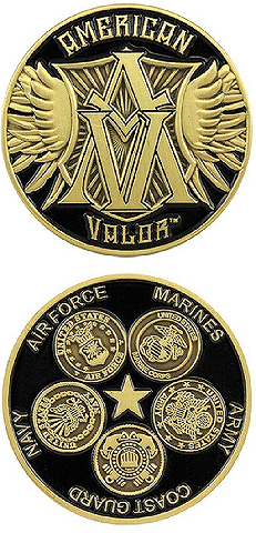 United States American Valor Army Navy Marines Air Force Military Challenge Coin