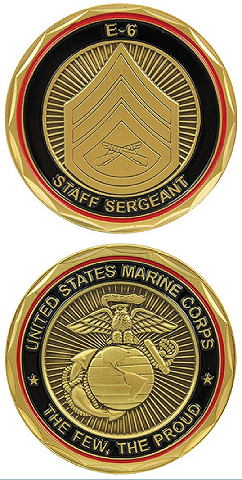 United States Marine Staff Sergeant SGT E-6 Military Challenge Coin
