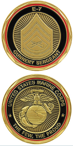 United States Marine Gunnery Sergeant SGT E-7 Military Challenge Coin