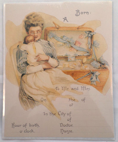 Old Print Factory Baby Birth Record For Scrapbooking Print Or