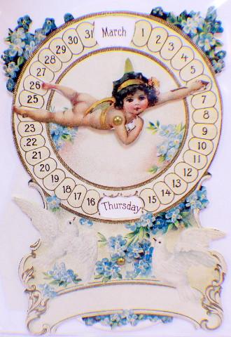 Victorian Card Lithograph Die Cut Embossed Cupid Mechanical Calendar