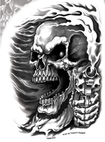 Black And White Assassin Skull Gun Decal With Transparent Backing