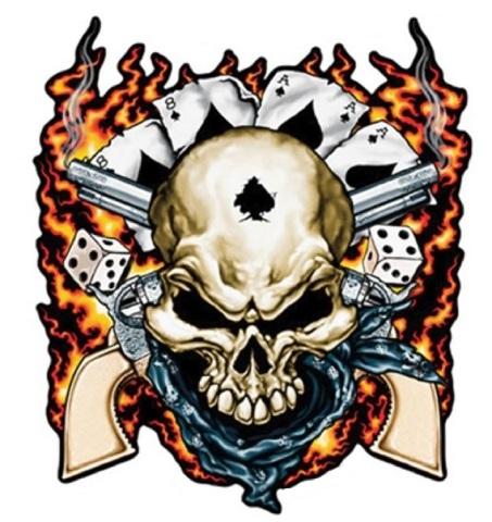 Dead mans hand skull 6 shooter as s decal bike customization sticker