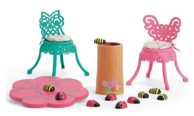 American Girl AG Table and Chair Set Wellie Wishers Doll Sized with Ladybugs