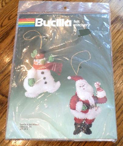 Bucilla Felt Stitchey Ornament Set Santa Claus & Frosty the Snowman kit
