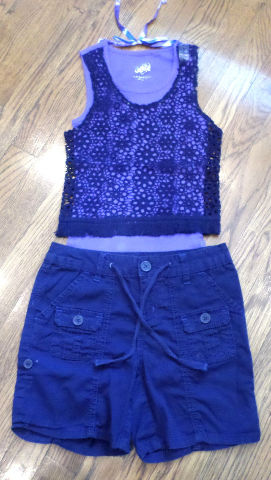 Justice New Lace Lavender Top Sz 8 & Sz 10R Navy Cotton Shorts