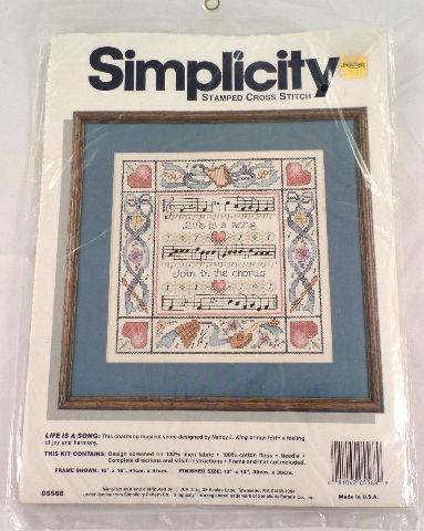 Simplicity Life Is A Song Stamped Cross Stitch 5568 Kit New Sealed