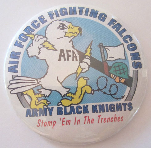 Air Force Fighting Falcons Army Black Knights Stomp 'Em Button Pin Back Afa