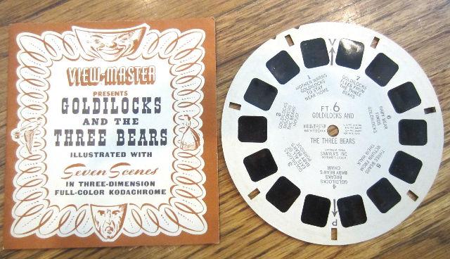 View Master Vintage Sawyer'S Inc View-Master Reel Goldilocks And The Three Bears
