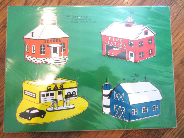 Connor Toy Wooden Puzzle Vintage Buildings We See 4 Pc 18 Mo-5Years