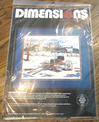 Counted Cross Stitch Dimensions Snowy Surrey Coach Wagon Scene New Sealed