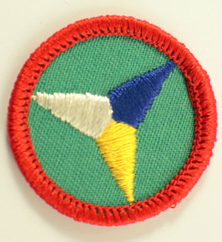 Girl Scout Gs Uniform Patch Merit Badge 3 Tri-Colored Triangle