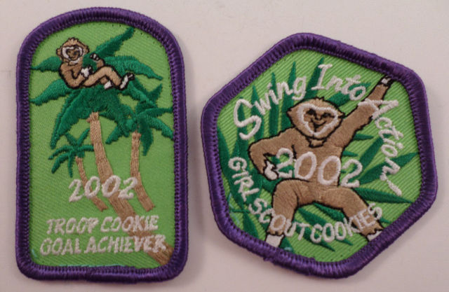 Girl Scouts Gs Vintage Uniform Patch Swinging Into Action Cookies 2002 Monkey