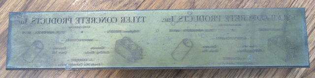 Unusual Printers Block Tyler Concrete Products Advertising Oversized