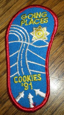 Girl Scouts Gs Vintage Uniform Patch Going Places Cookies 1991 Shoe Shape