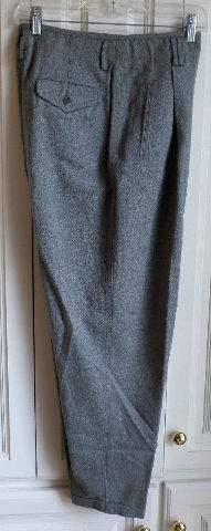 Liz Wear Cotton Cuffed Steel Gray Herringbone Trouser Pants Sz 10 Petite Womens