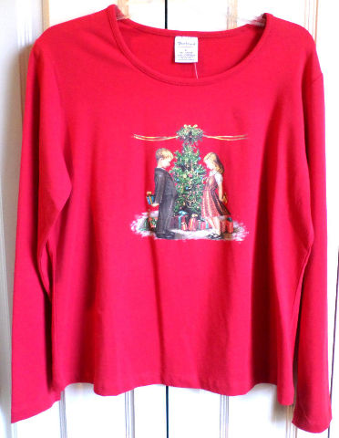 Women'S Nwt Sz L Westbound Red Christmas Tree Family Long Sleeve Shirt