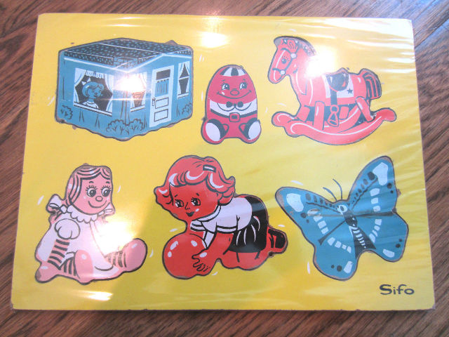 Sifo Vintage Wooden Puzzle Toy Shapes Doll Butterfly House Horse Ball