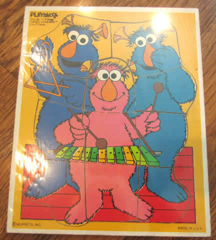 Playskool Play School Vintage Wooden Puzzle Muppets Three 3 Honkers 2-5 Yrs