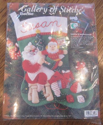 Bucilla Santa's Workshop Felt Stocking Kit New 33508 felt applique stocking