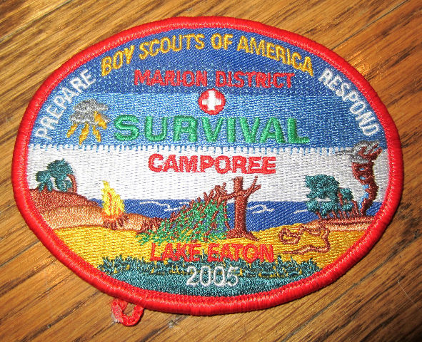 Vintage Boy Scout Patch Scout Bsa Marion District Survival Camporee Lake Eaton