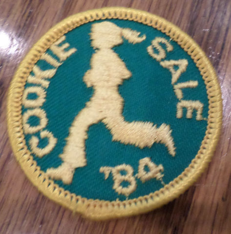 Vintage Girl Scout Uniform Patch Gs  Cookie Sale 1984 Girl Running