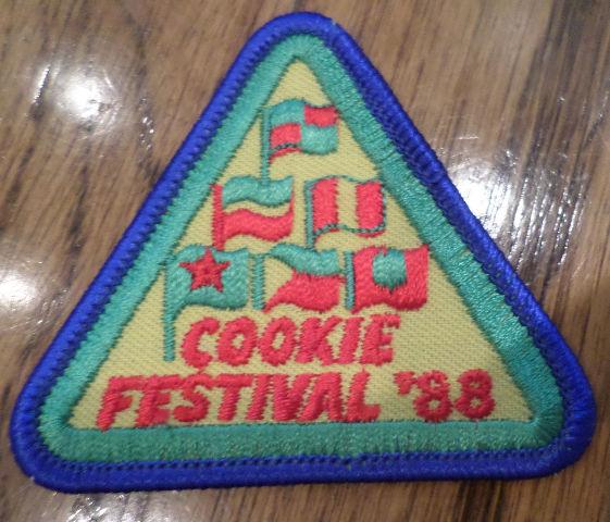 Vintage Girl Scout Uniform Patch Gs  Cookie Festival 1988 Flags