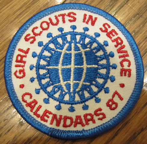 Girl Scouts Vintage Uniform Patch In Service Calendars 1987