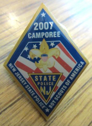 Vintage Uniform Boy Scout Bsa Hat Lapel Pin 2007 Camporee State Police Nj Jersey