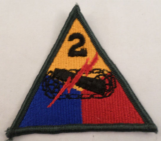 2Nd Armored Division Green Color Uniform Patch Military  #Mtgr