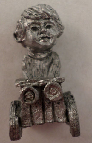 Pewter Collectible Figurine Little Boy Playing In A Go-Cart Car