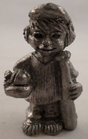 Pewter Collectible Figurine Little Boy With Baseball Glove Mit Ball And Bat