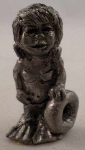 Pewter Collectible Figurine Little Girl With Innertube And Swim suit Swimming