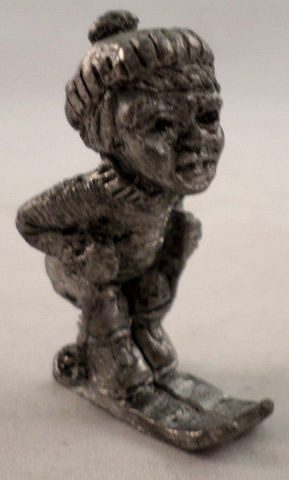 Pewter Collectible Figurine Little Boy Skiing With Hat And Ski Poles
